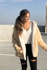 Taupe & ivory teddy hooded coat