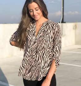 Blush & black animal print blouse
