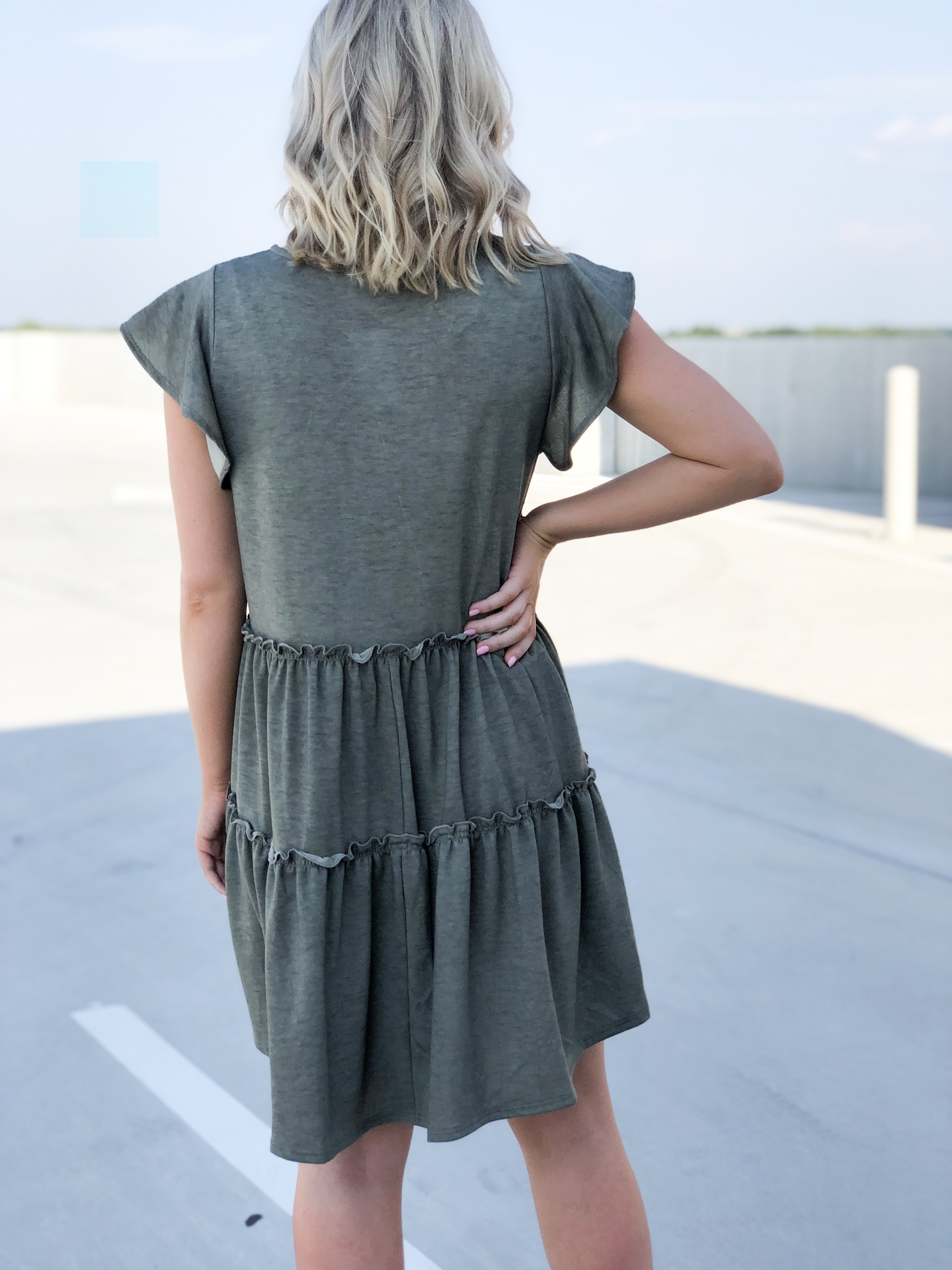 Olive frill detail flowy dress