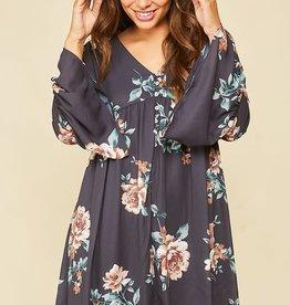 Charcoal floral print dress w/button detail