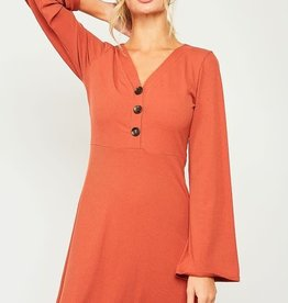 Rust ribbed dress w/button detail