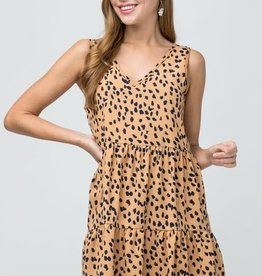 Taupe cheetah print tie back dress