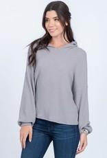 Grey waffle print hoodie
