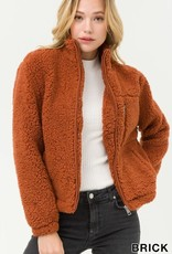 Sherpa teddy zip front jacket