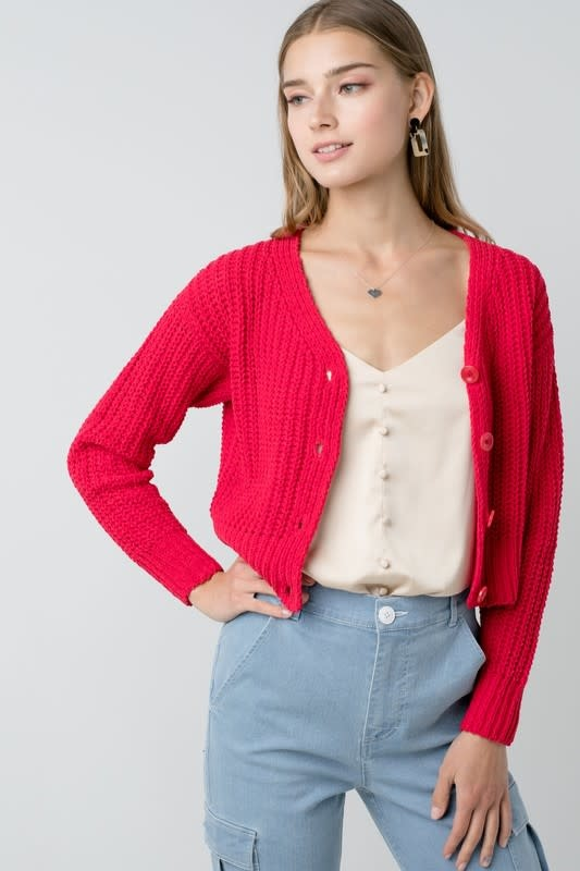 Chenille button up cardigan