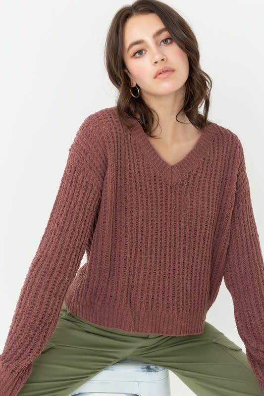 Chenille V neck waffle knit sweater