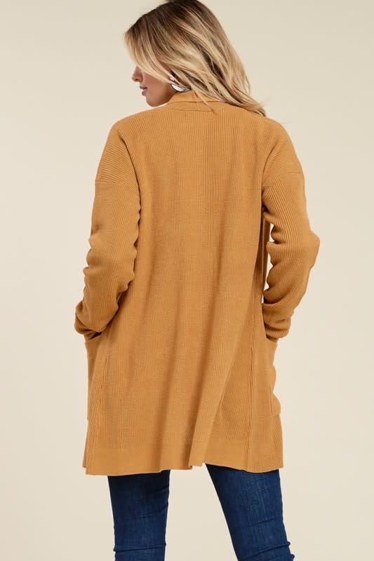 Camel waffle cardigan w/pockets