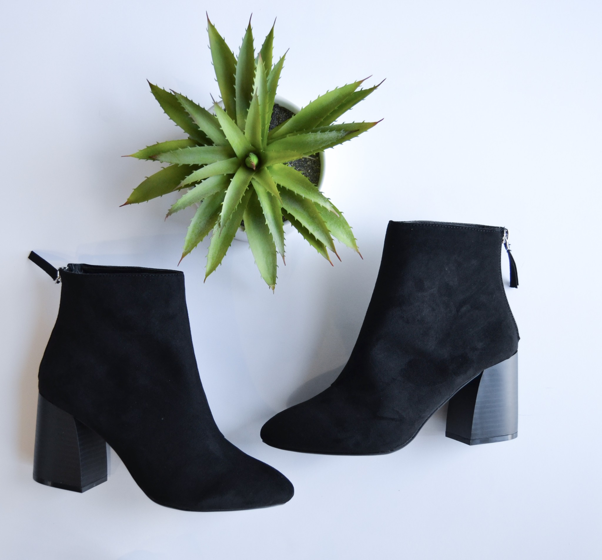 Black faux suede ankle heeled bootie