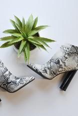 Stone snake skin high heel bootie