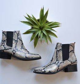 Beige & Black snake skin ankle bootie