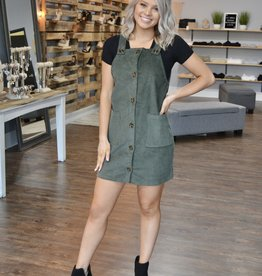 Olive corduroy overall dress