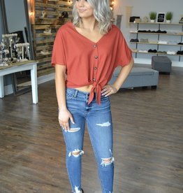 Marsala ss button tie front top