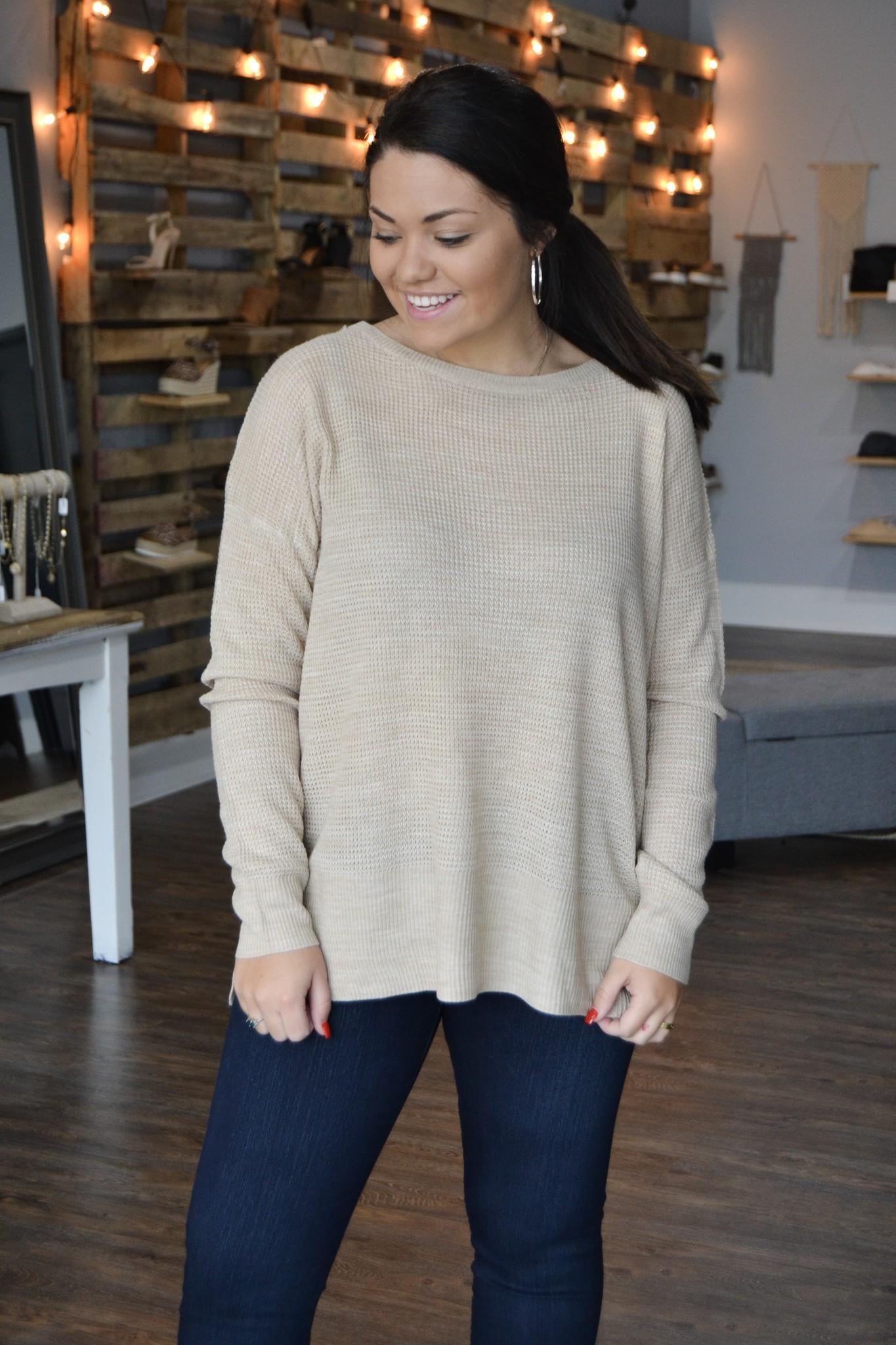 Oatmeal LS waffle sweater