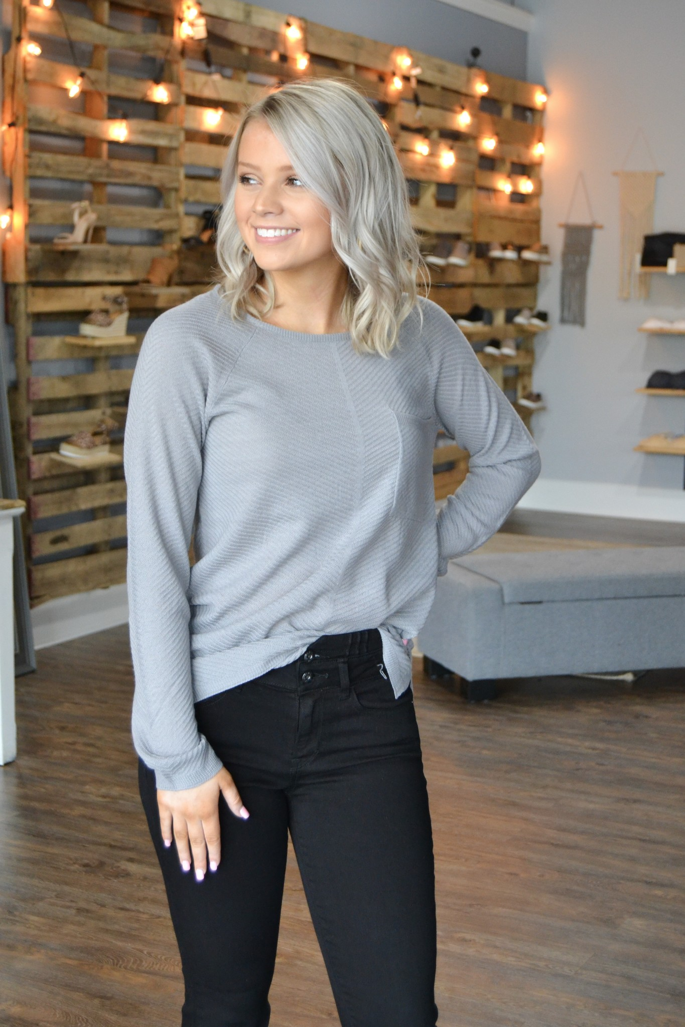 Grey LS textured pocket front pullover