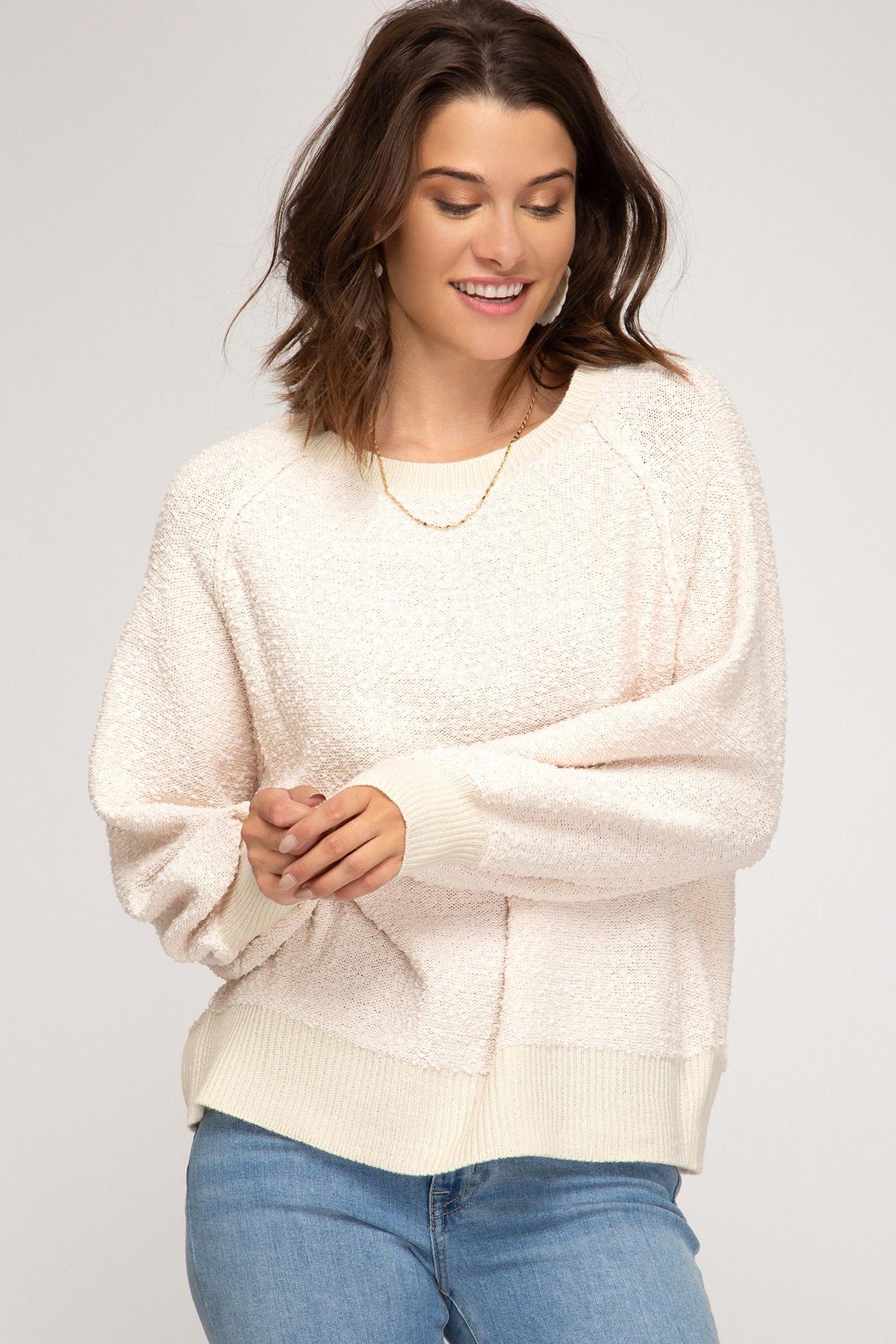 Ecru fluffy knit pullover