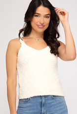 Fuzzy sweater cami top