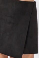 Black faux suede skort