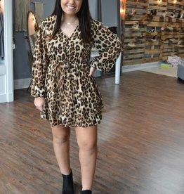 Camel leopard print dress