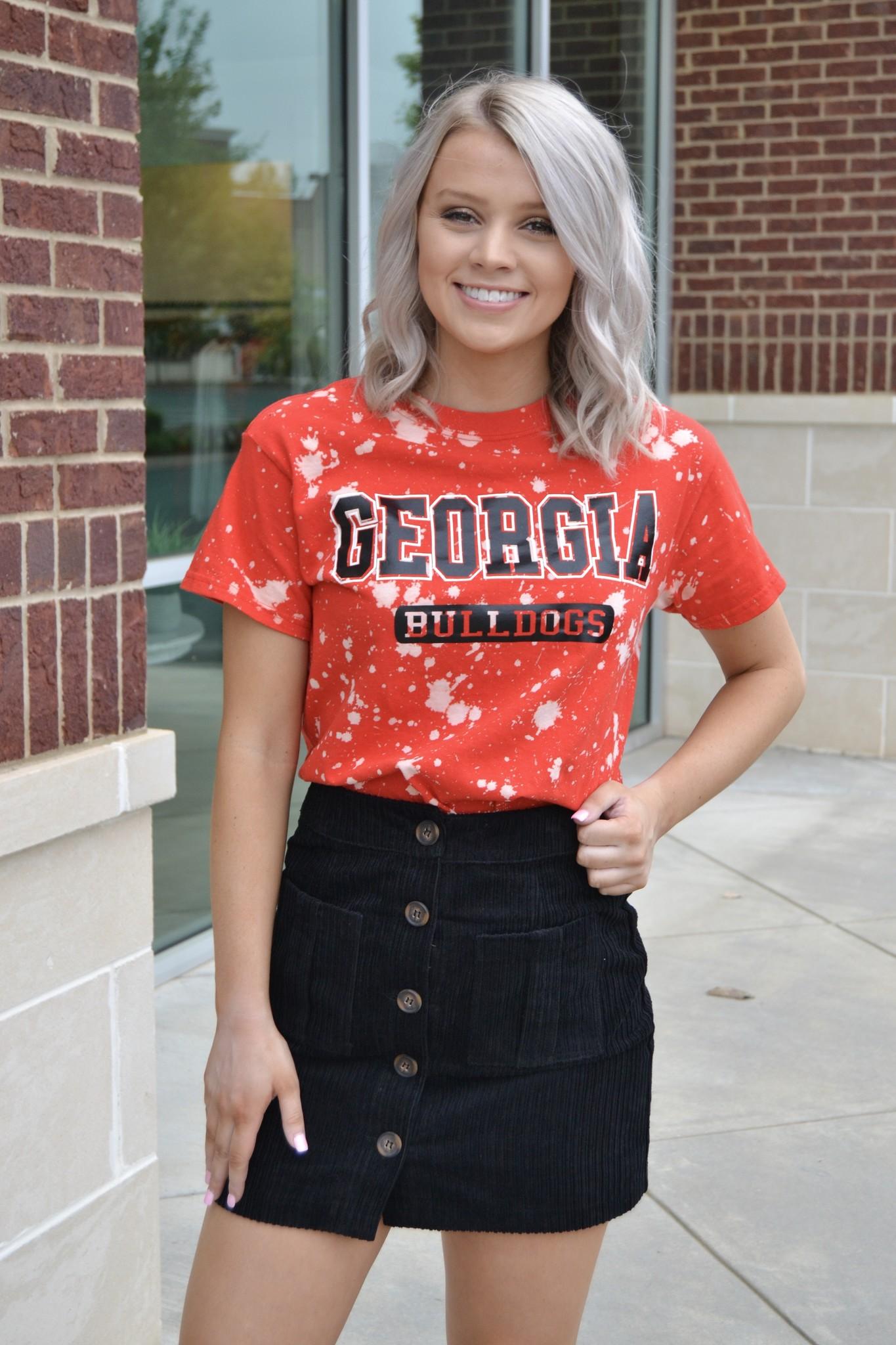 Red distressed Georgia bulldogs tee