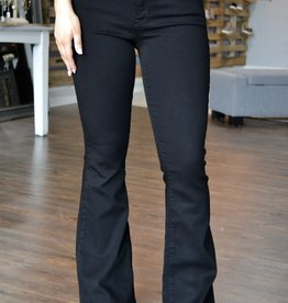 Black double button high rise flare jeans
