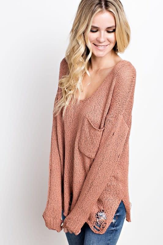 Distressed LS sweater w/pocket