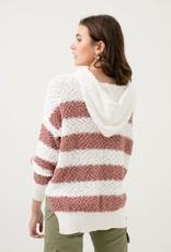 Mauve & white stripe popcorn hoodie