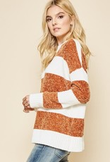 Ivory & rust stripe chenille sweater