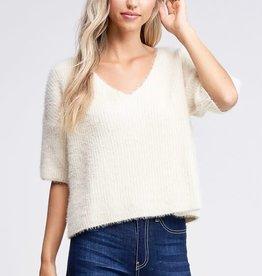 Ivory V neck ss fuzzy sweater