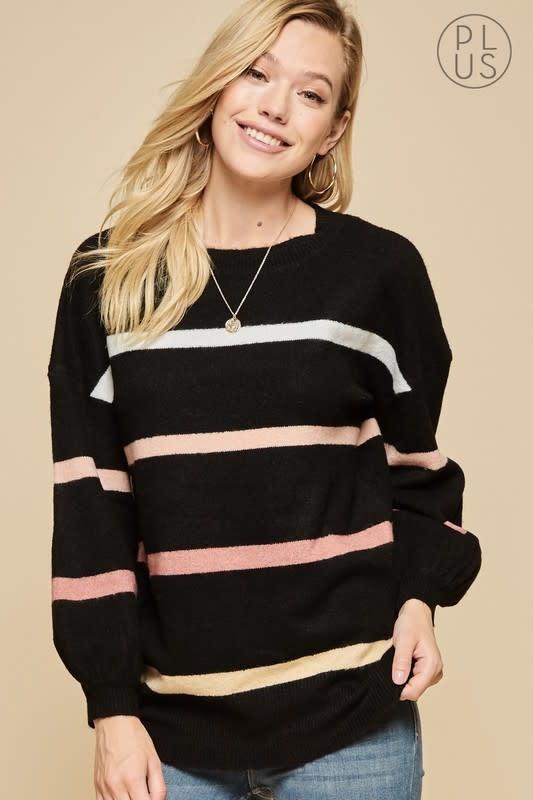 Black balloon sleeve striped sweater