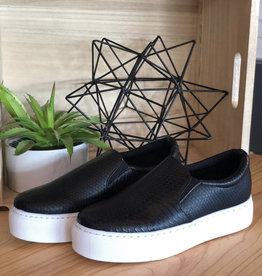 Black snake skin slip on sneaker