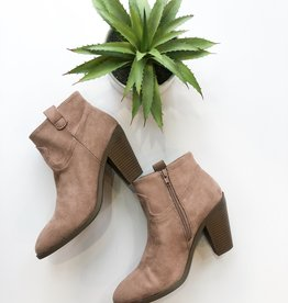 Dark blush faux suede heeled ankle bootie