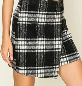 Black & white plaid wrap skirt