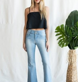 Mid rise flare jeans w/double button
