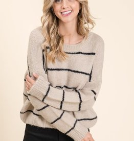 Taupe & black stripe sweater