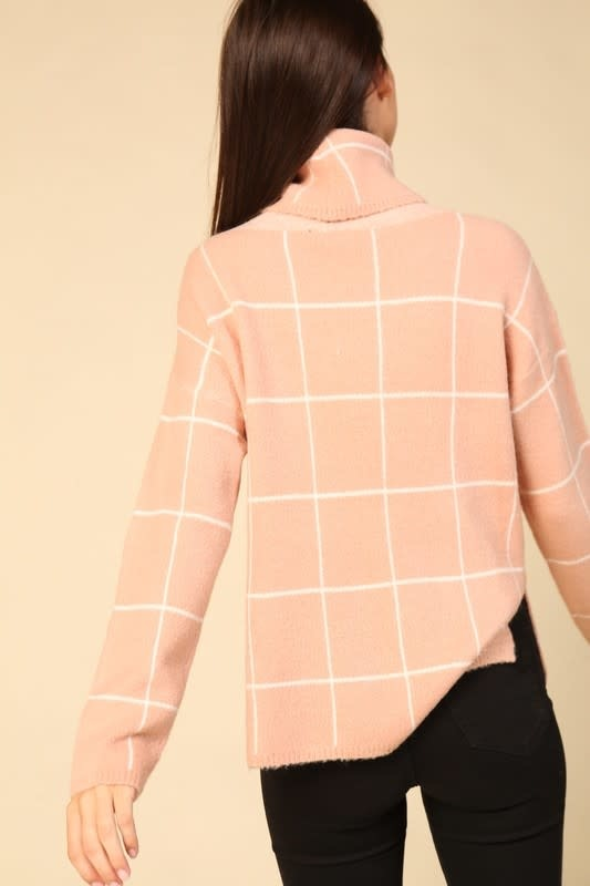 Pink turtle neck grid sweater