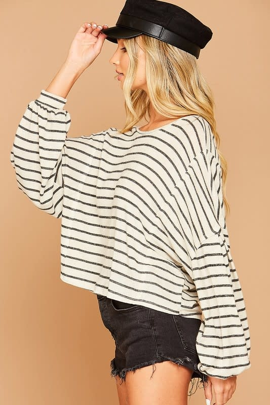 Ivory & black stripe top w/strappy back