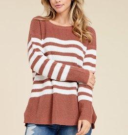 Rust & ivory stripe sweater