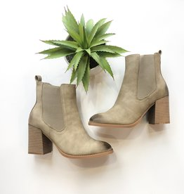 Distressed chunky heel pull on bootie
