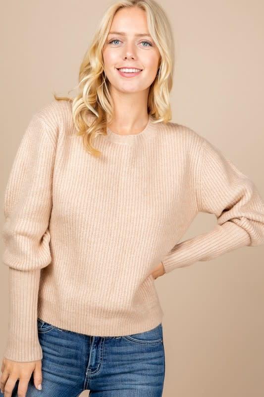 Taupe balloon sleeve sweater