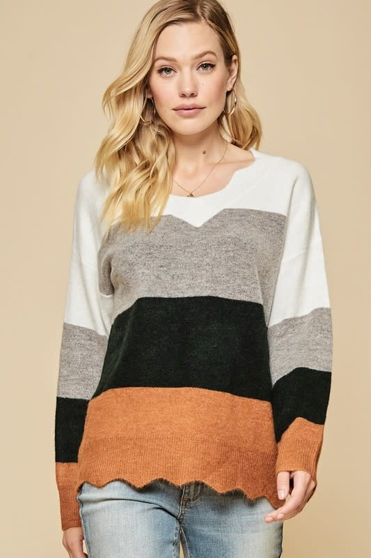 Color block scalloped detail sweater