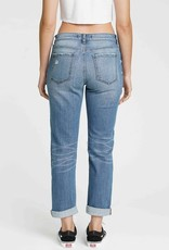Low rise distressed girlfriend jeans