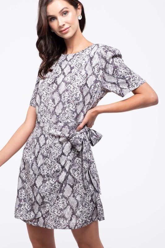 Grey snake skin print wrap dress