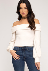 Cream OTS bubble sleeve top
