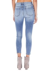 Distressed high rise skinny crop jeans