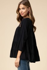 Black embroidered smocked top