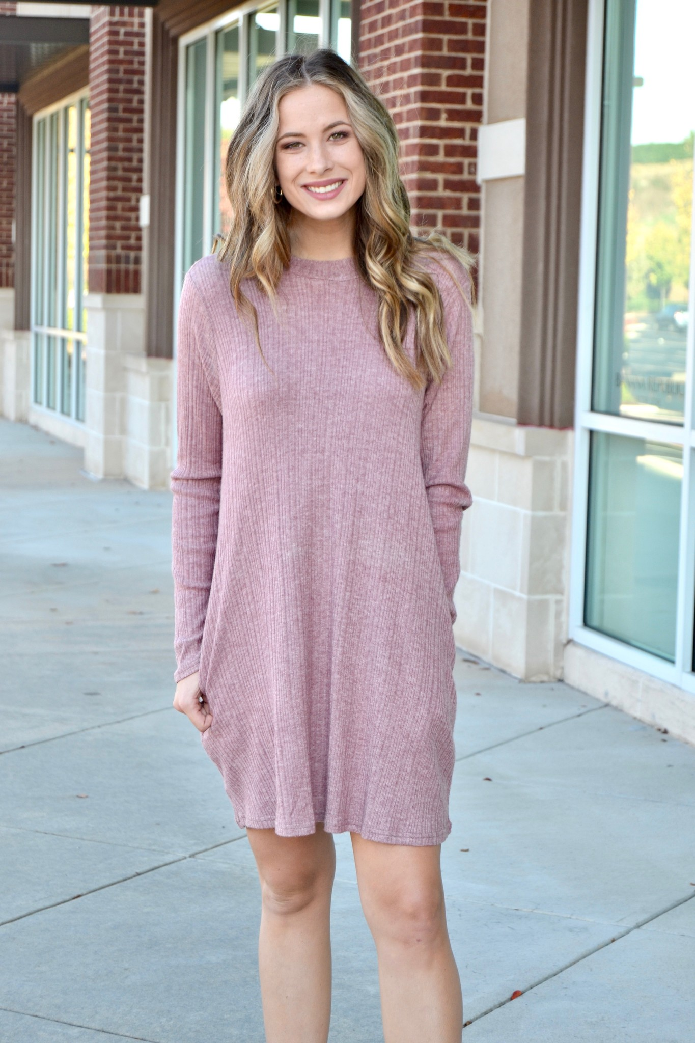 Dusty lavender ribbed dress
