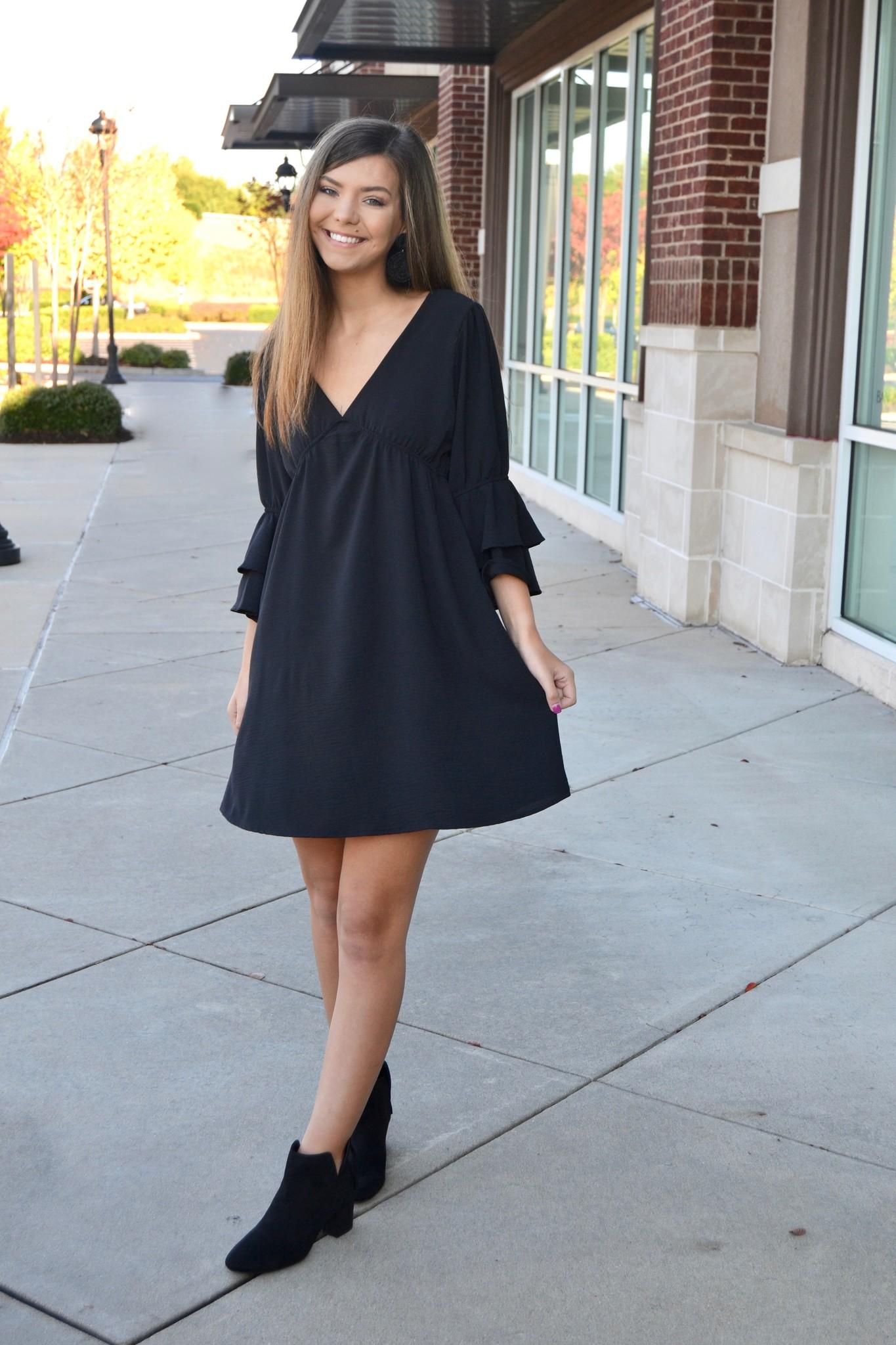Black ruffle sleeve dress