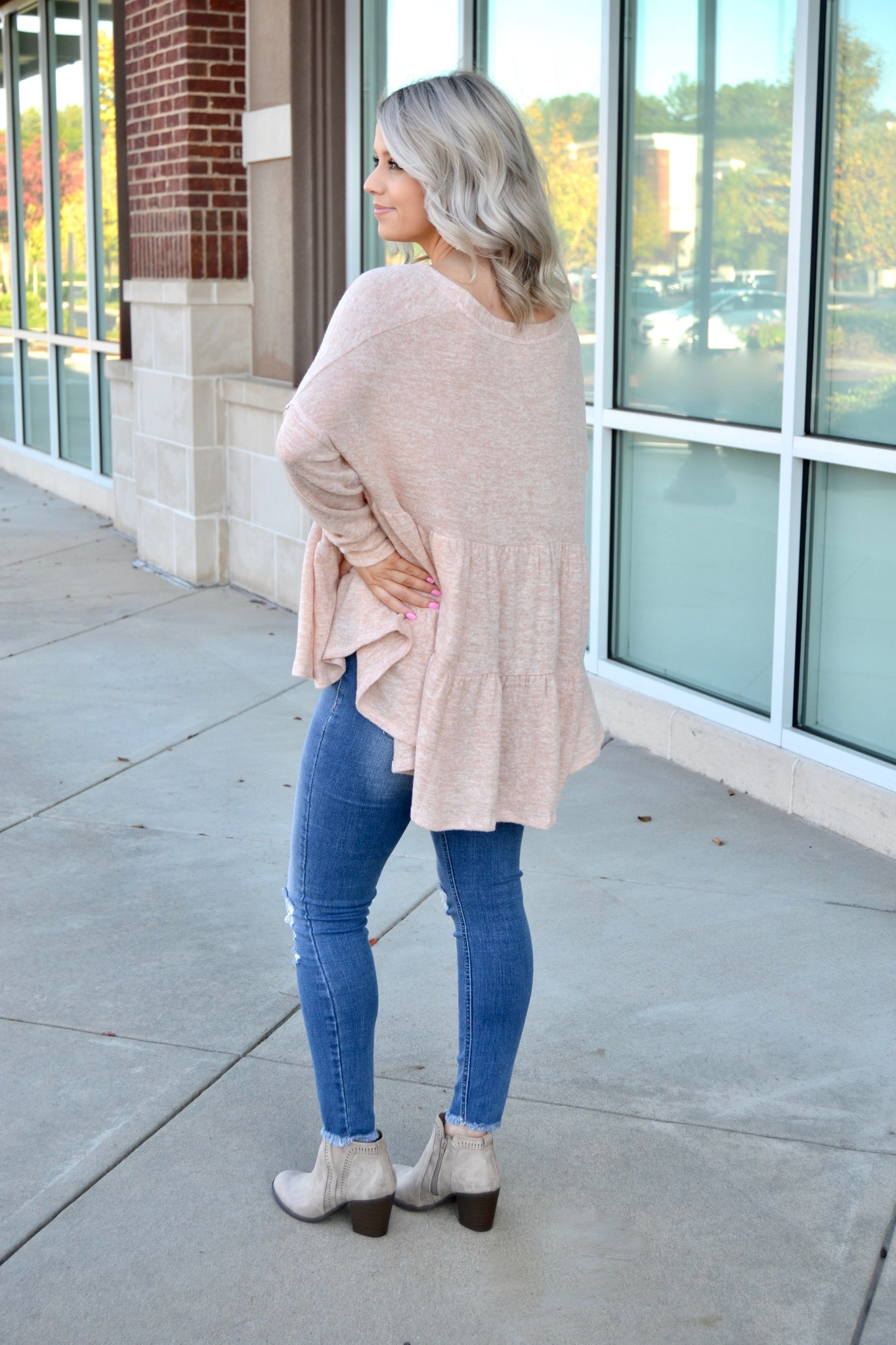 Dusty coral button front tiered top