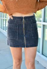 Faded charcoal corduroy front zip skirt