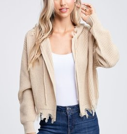 Distressed zip front hooded cardigan
